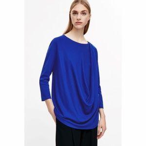COS Blue Asymmetric Drape Top